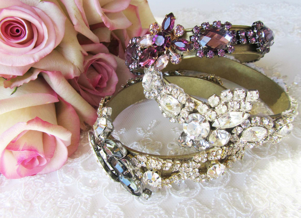 Crystal Rhinestone Bridal Cuffs from Cloe Noel Designs