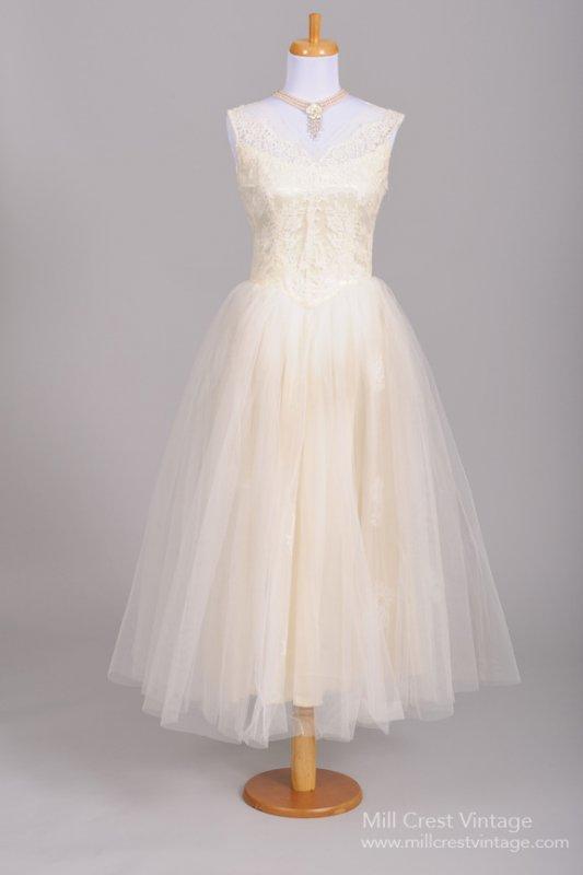 Floral Lace 1950s Vintage Wedding Dress from Mill Crest Vintage