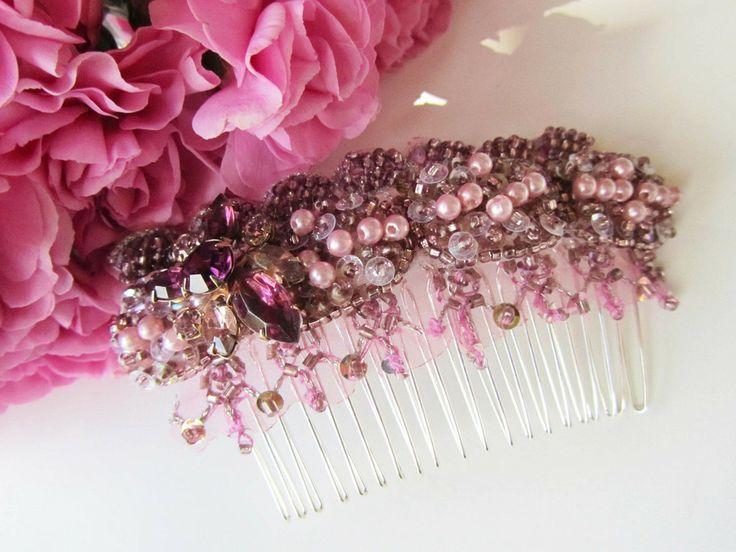 Pink Bridal Hair Comb from Cloe Noel Designs