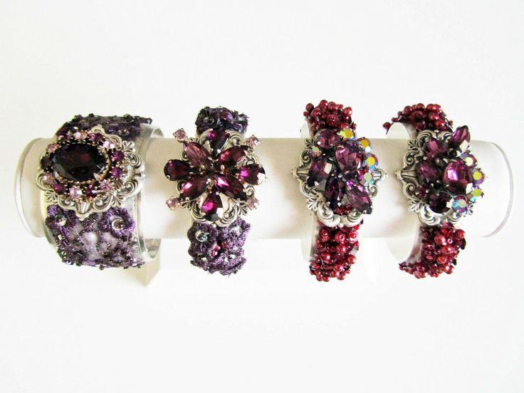Pink & Purple Bridesmaid Cuff Bracelets from Cloe Noel Designs