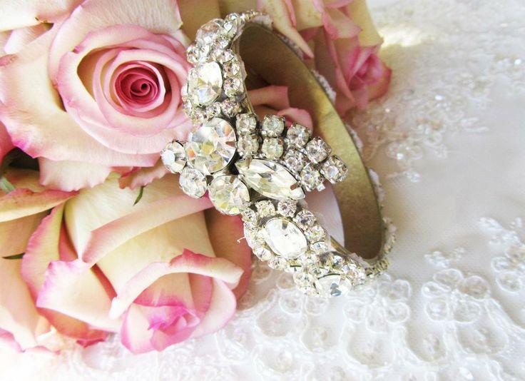 Rhinestone Bridal Cuff Bracelet from Cloe Noel Designs