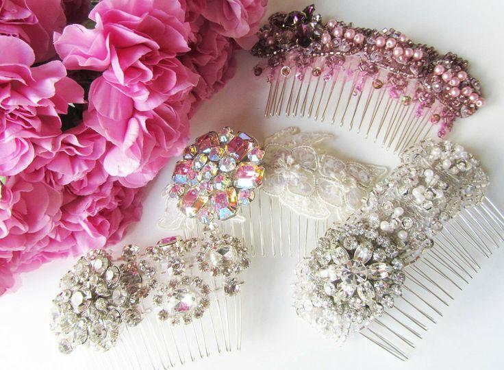 Rhinestone Bridal & Bridesmaids Hair Combs from Cloe Noel Designs