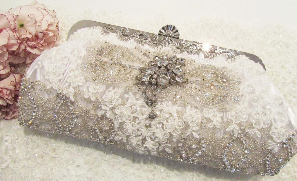 Rhinestone & Llace Bridal Clutch from Cloe Noel Designs