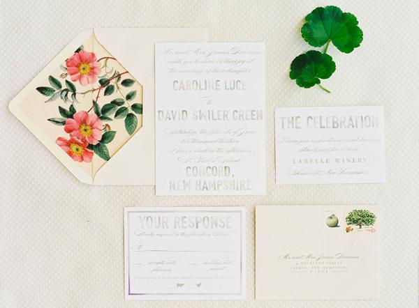 Wedding Invitations for a Pretty New England Wedding