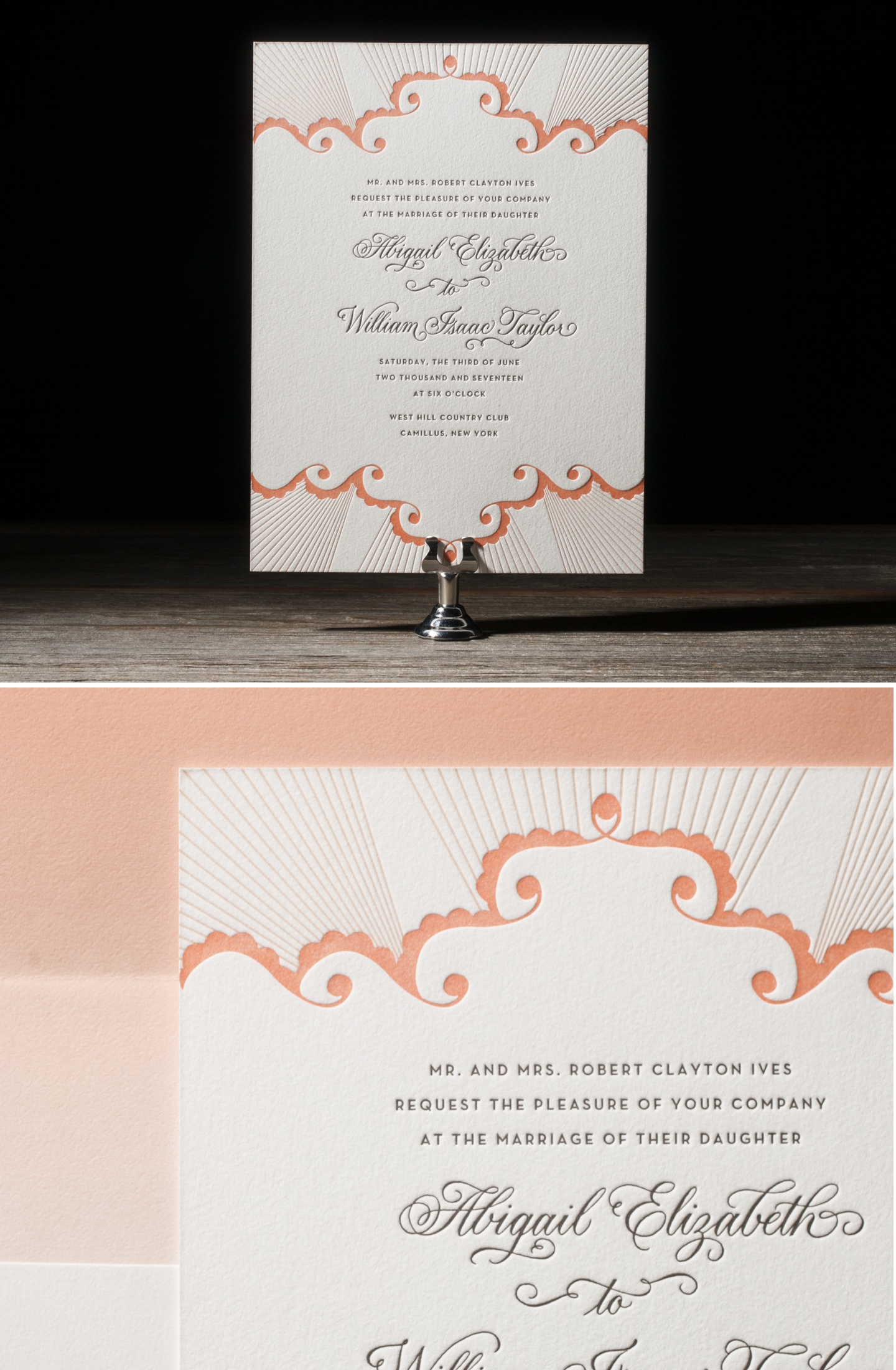 Analina Calligraphy Letterpress Wedding Stationery from Bella Figura's 2014 Collection