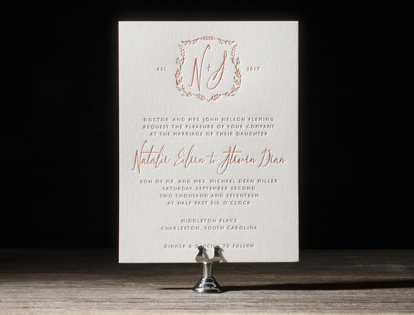 Wreath Crest Letterpress Wedding Stationery from Bella Figura's 2014 Collection