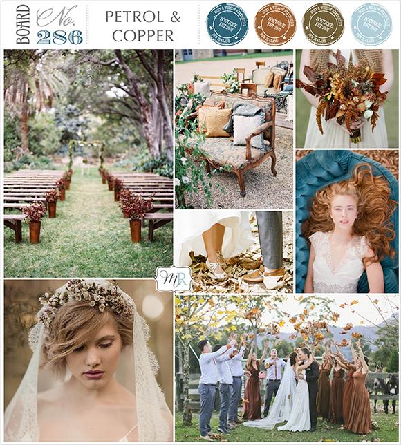 Petrol & Copper Wedding Inspiration Board