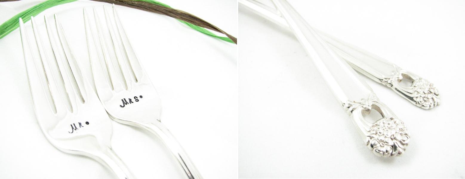 Mr & Mrs Vintage Silver Forks from Dazzling Dezignz