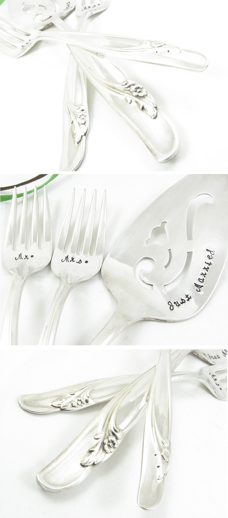 Mr & Mrs Just Married Vintage Silver Wedding Cake Server Set
