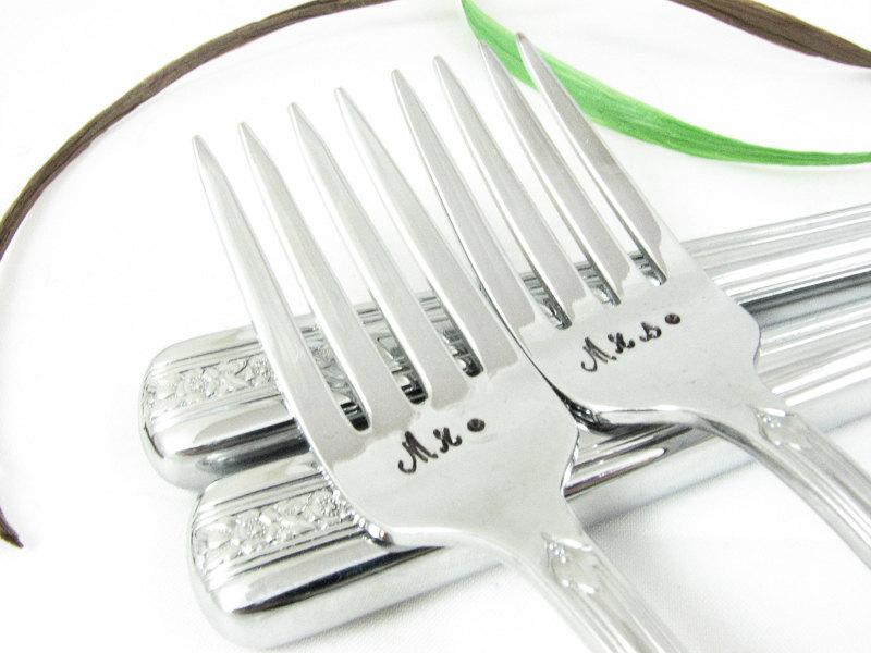 Mr & Mrs Vintage Silver Knives & Forks Set