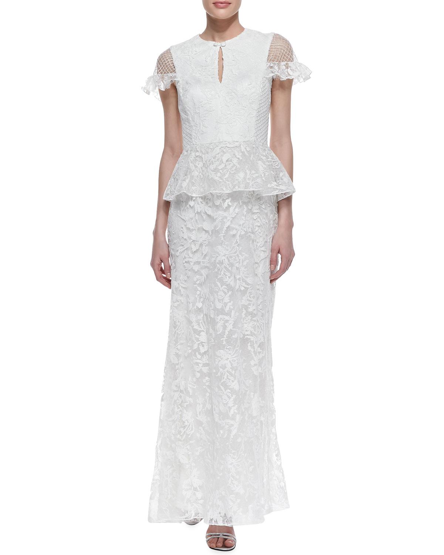 Tadashi Shoji Peplum Wedding Dress