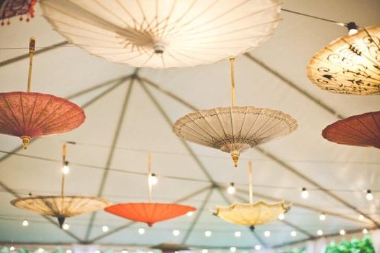 20 Beautiful Reception Lighting Ideas - Parasols