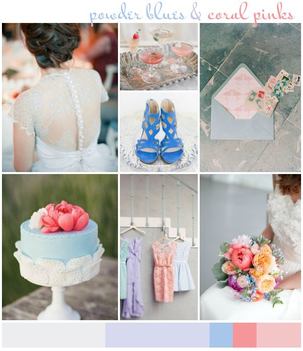 Powder Blues & Coral Pinks Wedding Inspiration Board