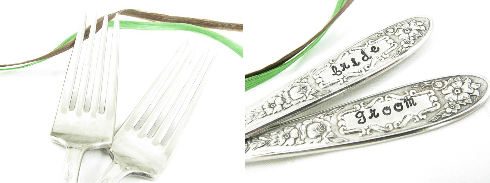 Bride & Groom Vintage Silver Wedding Forks