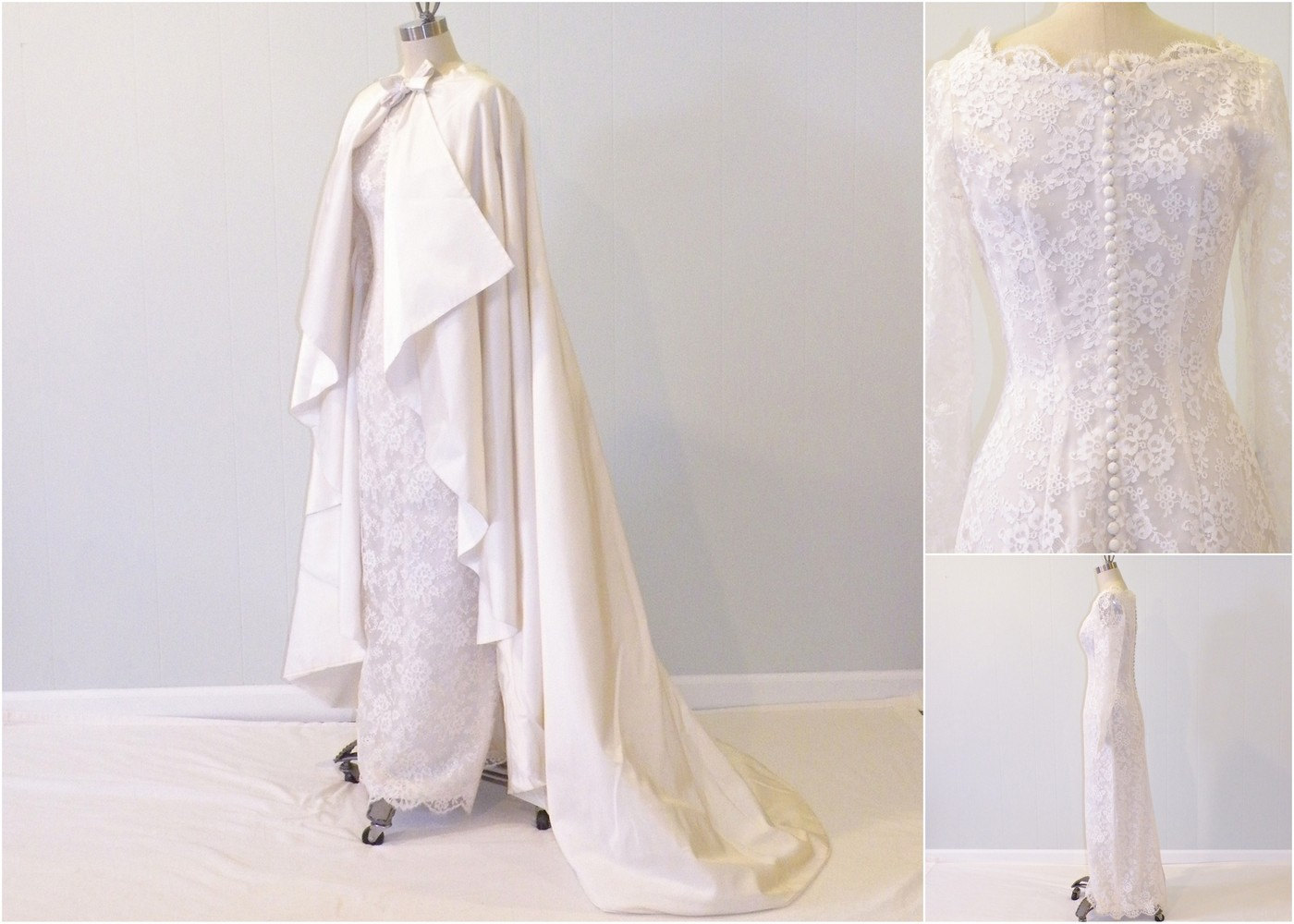 1960s Vintage Wedding Dress & Cape from Daisy & Stella
