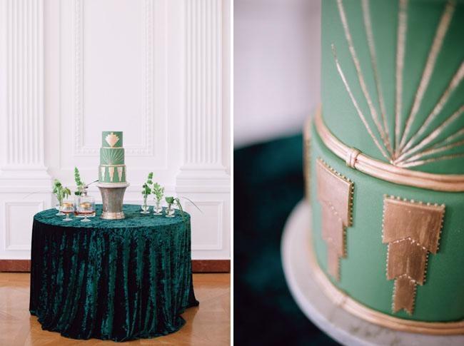 Emerald Green Art Deco Wedding Cake Chic Vintage Brides Chic
