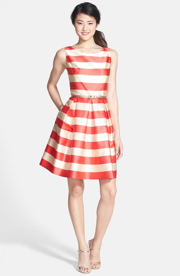 Orange & Ivory Striped Dress