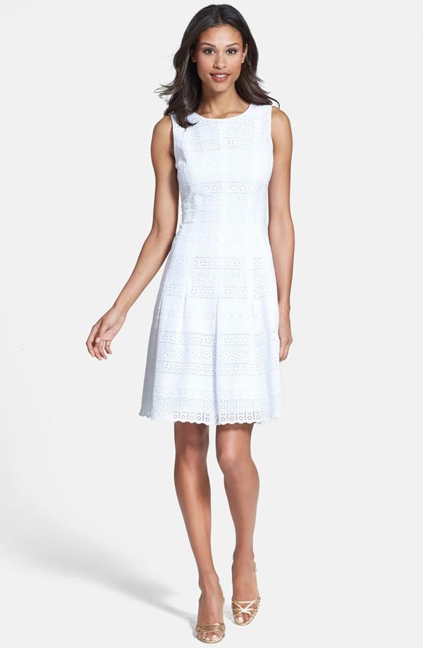 White Cotton Subtly Striped Dress