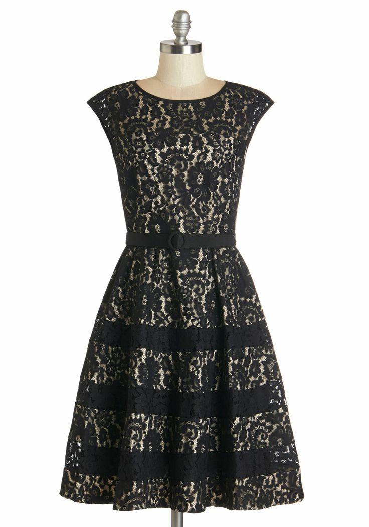 Black Lace Subtly Striped Dress