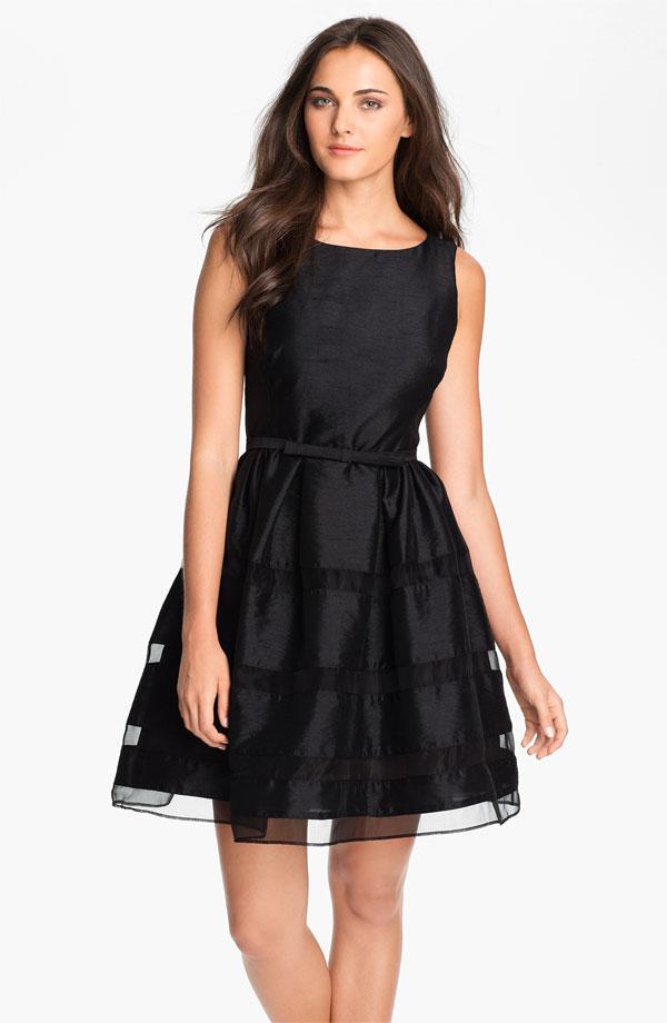 Black Subtly Striped Dress