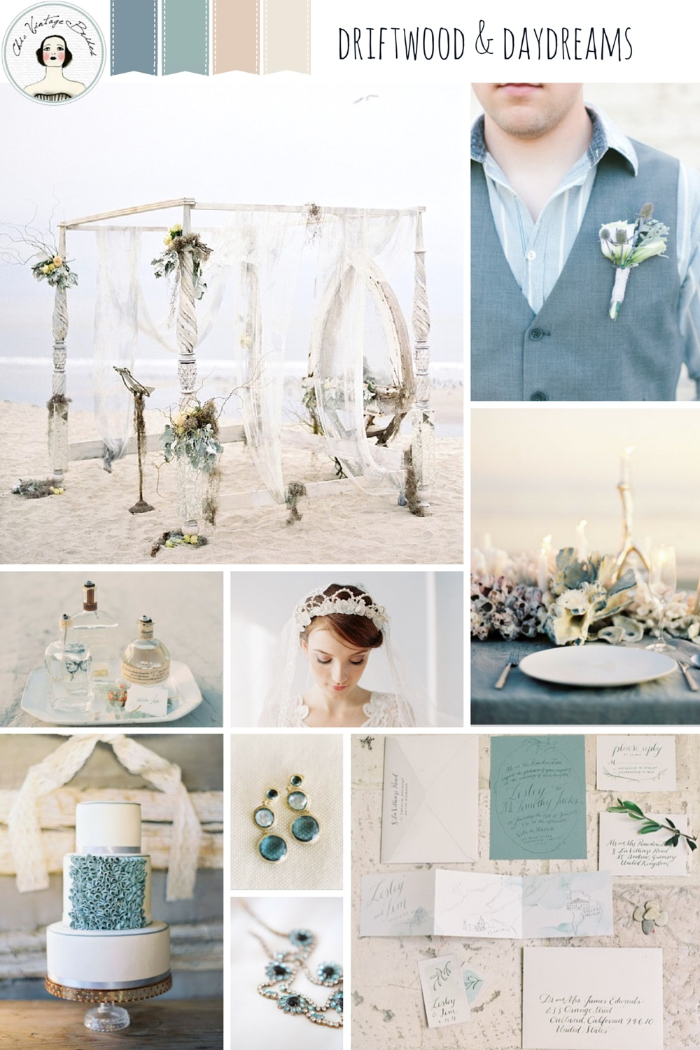 Driftwood & Daydreams - Beach Wedding Inspiration in Shades of Dusky Blues and Greens