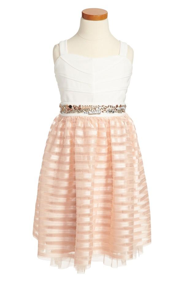 Flower Girl Dress with Striped Skirt