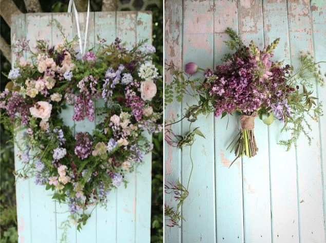 Heart Wedding Wreath & Bouquet