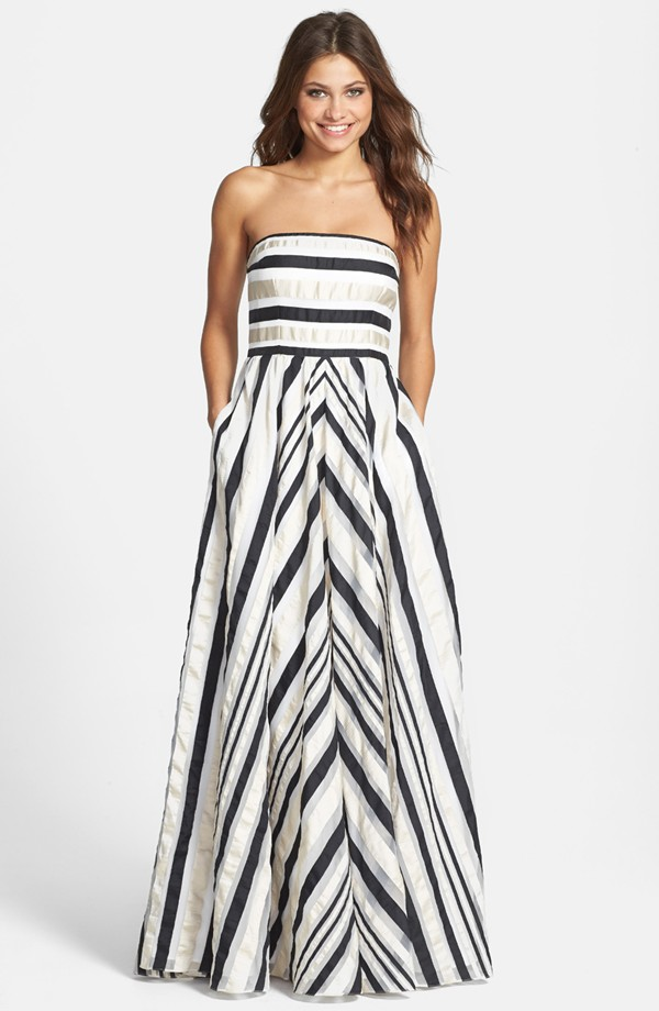 Black, White & Silver Striped Maxi Dress