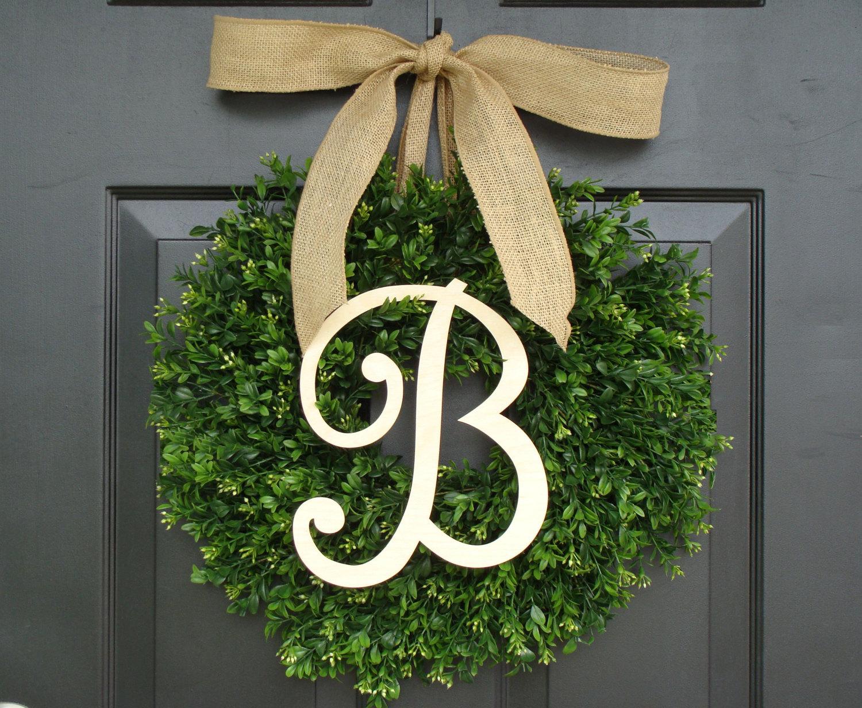 Monogrammed Boxwood Wedding Wreath