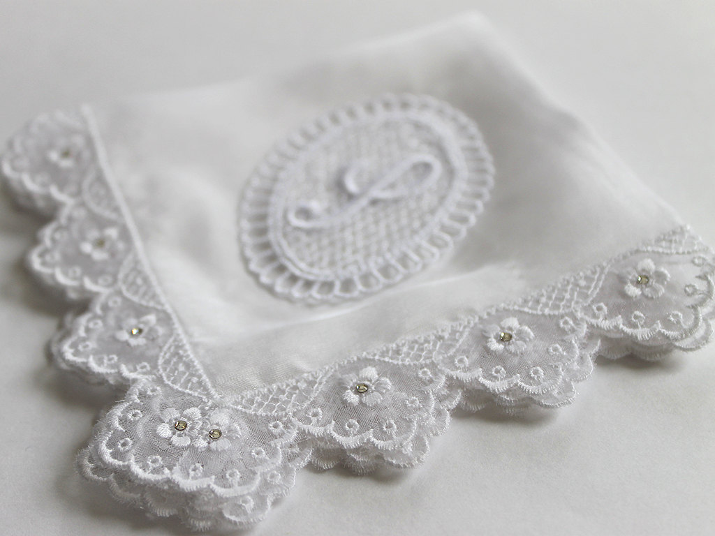Monogrammed White Wedding Hanky from Aristocrafts