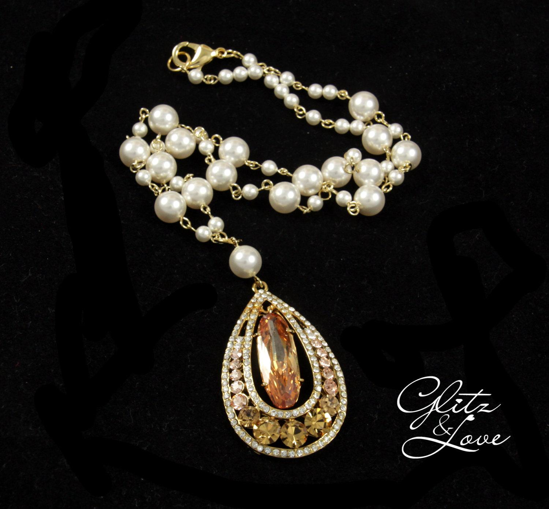 Narda Necklace - Champagne Teardrop Crystal & Pearl by Glitz & Love