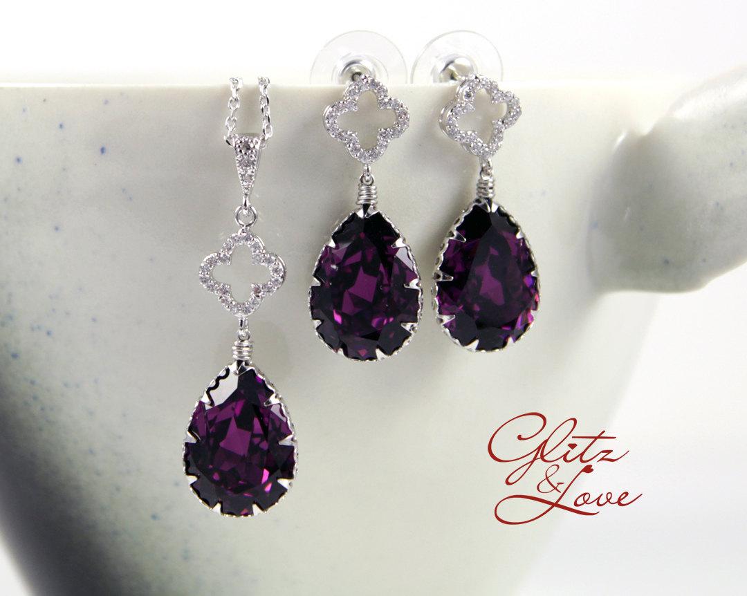 Purple Earrings and Bracelet Set from Glitz & Love
