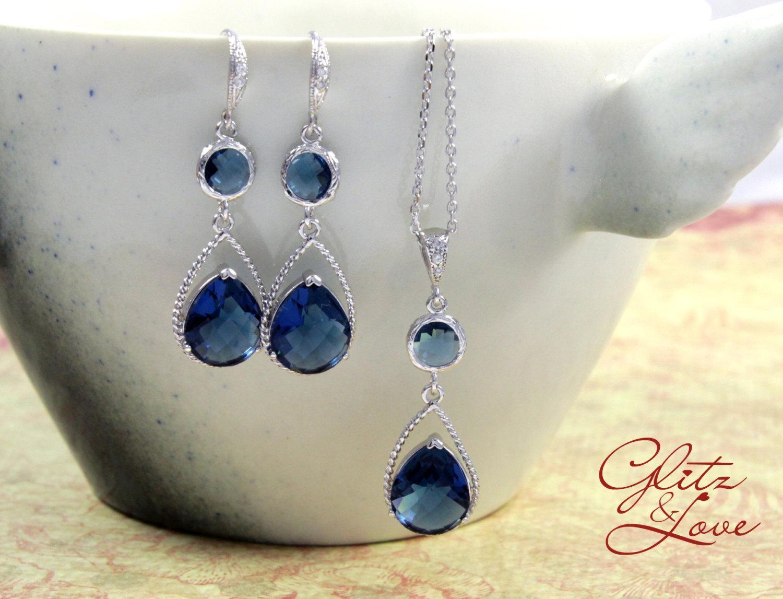 Sapphire Blue Earrings and Bracelet Set from Glitz & Love