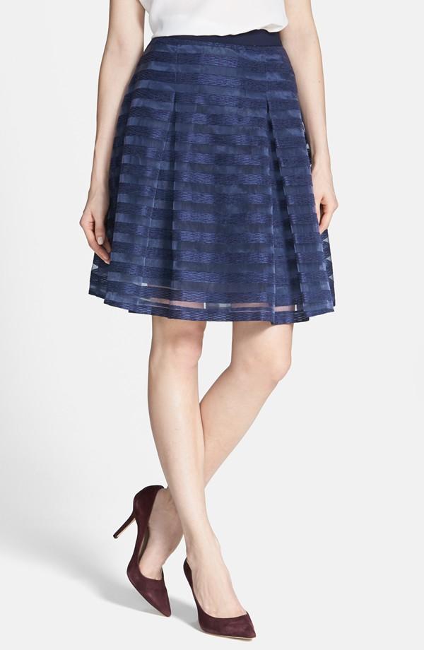 Navy Striped Skirt
