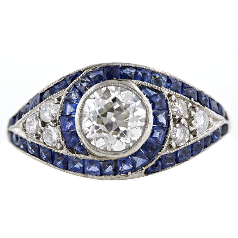 1920s Sapphire & Diamond Engagement Ring