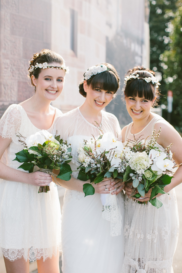 A Timeless & Beautiful Bridesmaids Look ~ Short Ivory Dresses