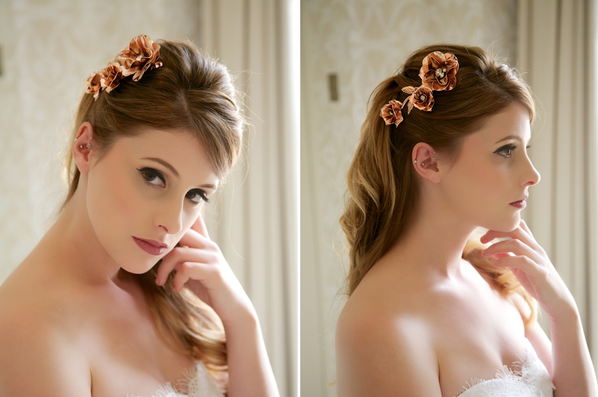 Glamorous Bridal Headpieces from Gilded Shadows - Rose gold