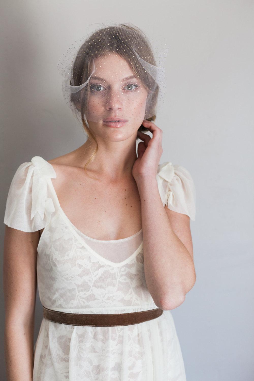 Mignonne Handmade's 2014 Bridal Accessories - Gold Polka Dot Veil