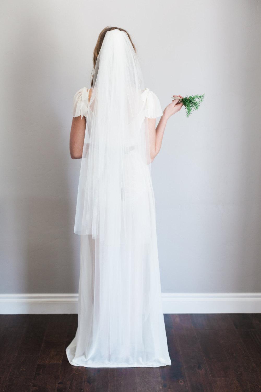 Mignonne Handmade's 2014 Bridal Accessories - Single Layer Tulle Veil Comb