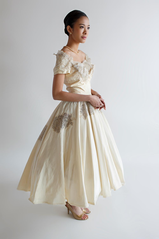 Beloved Vintage Bridal - Vintage 1950s Tea Length Wedding Dress