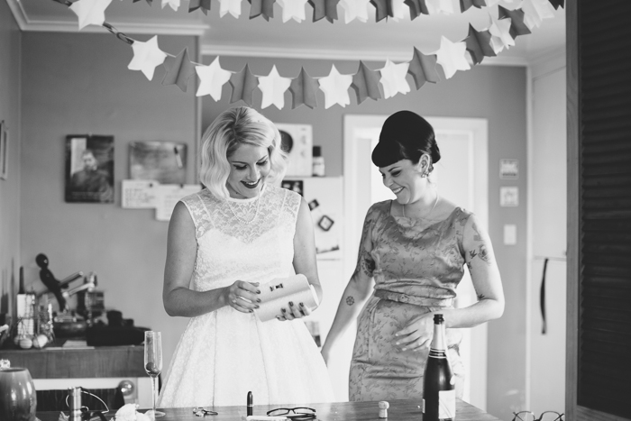 Retro Bridesmaid & Bride - A Tea Length Wedding Dress for a Fabulously Relaxed, 1950s Inspired Wedding from Emily Raftery Photography
