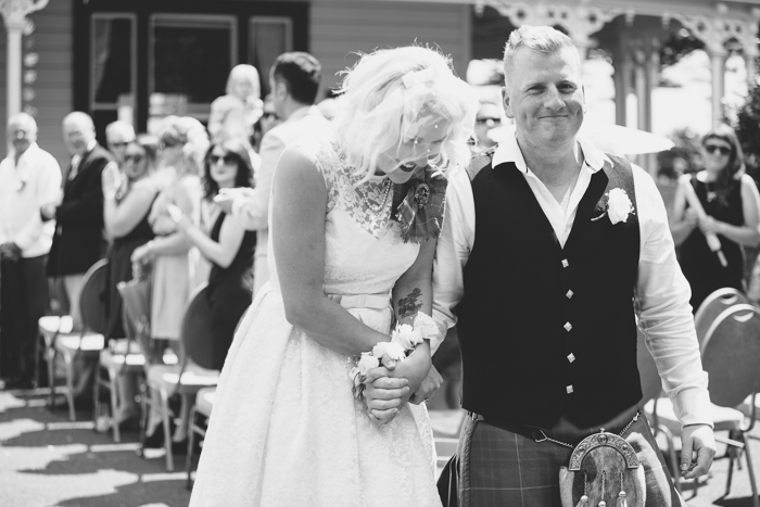 A Tea Length Wedding Dress for a Fabulously Relaxed, 1950s Inspired Wedding from Emily Raftery Photography - Husband & Wife