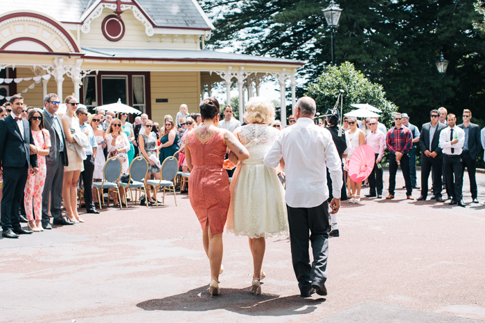 A Tea Length Wedding Dress for a Fabulously Relaxed, 1950s Inspired Wedding from Emily Raftery Photography - Bride, Father and Bridesmaid
