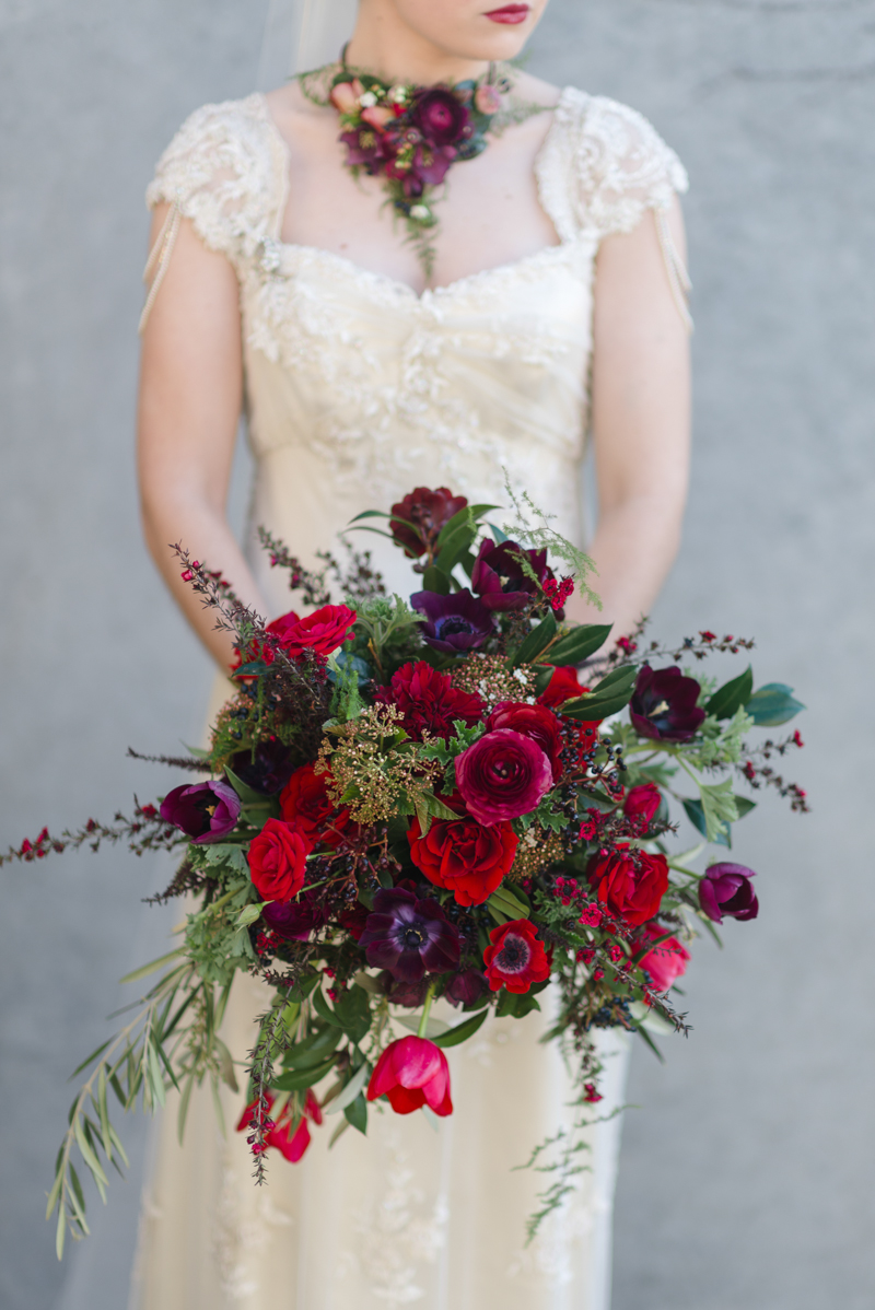 Red Vintage Bridal Bouquet