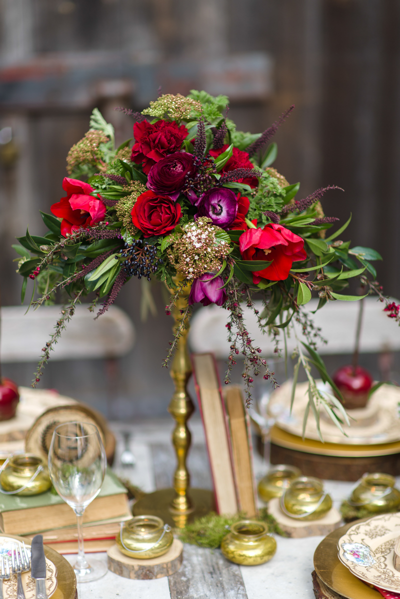 Autumn Wedding Inspiration - Autumn Red Floral Centrepiece