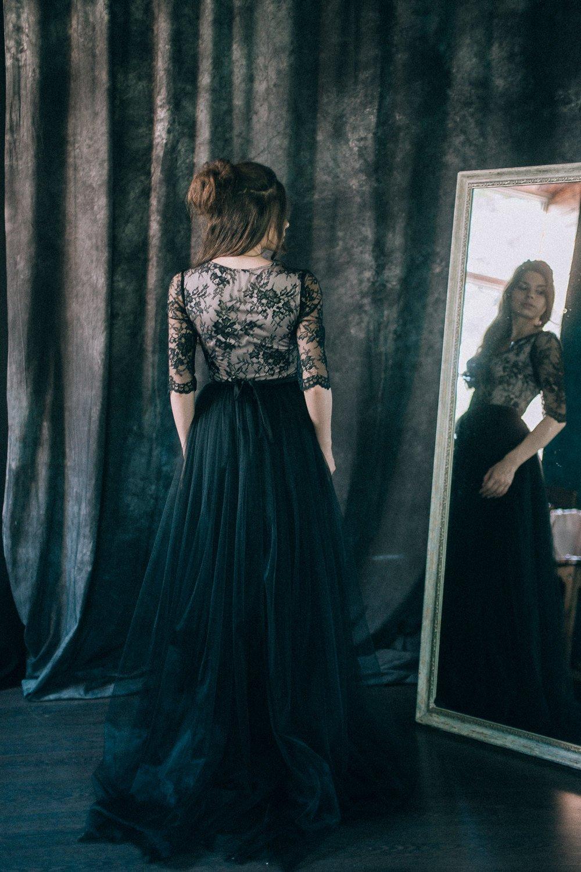 Anemone Black Lace Wedding Dress