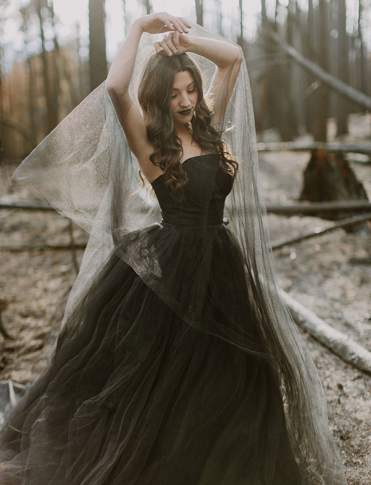 Black Tulle Wedding Dress with Train