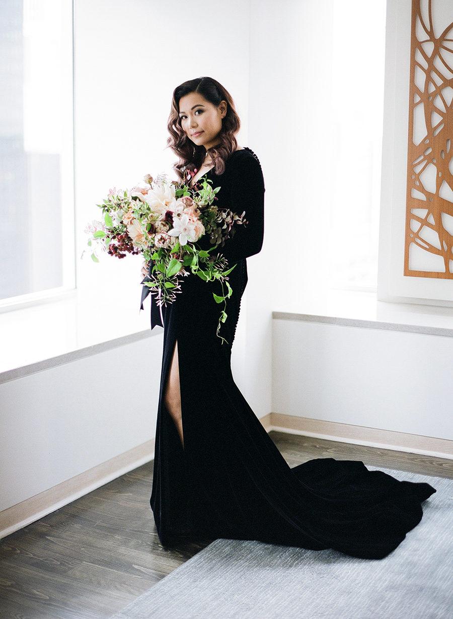 Black Velvet Wedding Dress