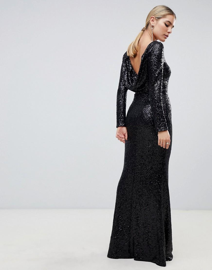 Cowl Back Sequin Black Dress