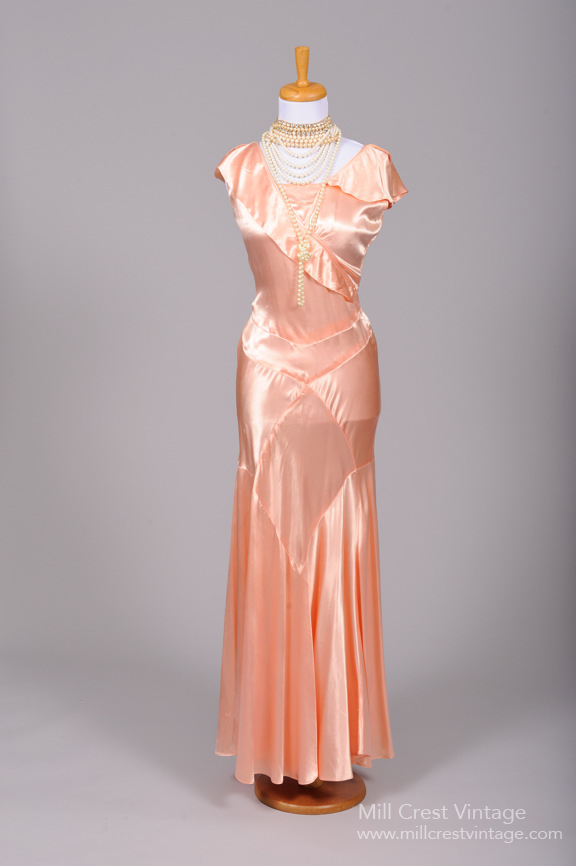 1930s Satin Vintage Dress from Mill Crest Vintage